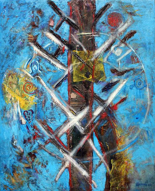 iz ciklusa KRUGOM OBELISKA, komb tehnika, 2008