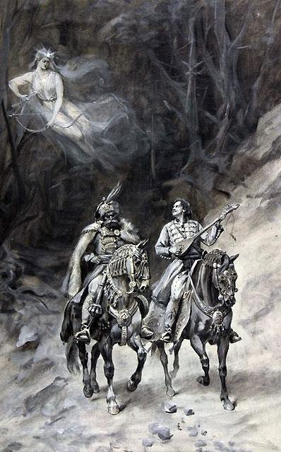 MILOŠ, MARKO I VILA, tempera, 1898