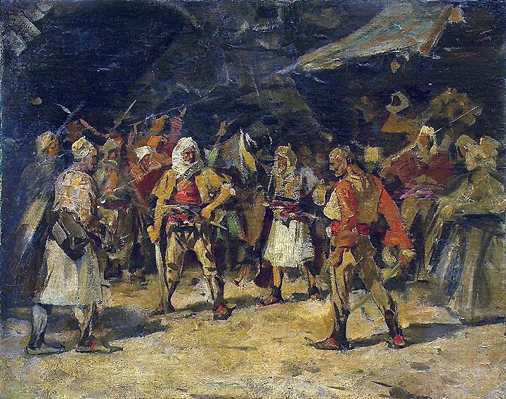 skica za sliku DVOBOJ, ulje na platnu, posle 1890