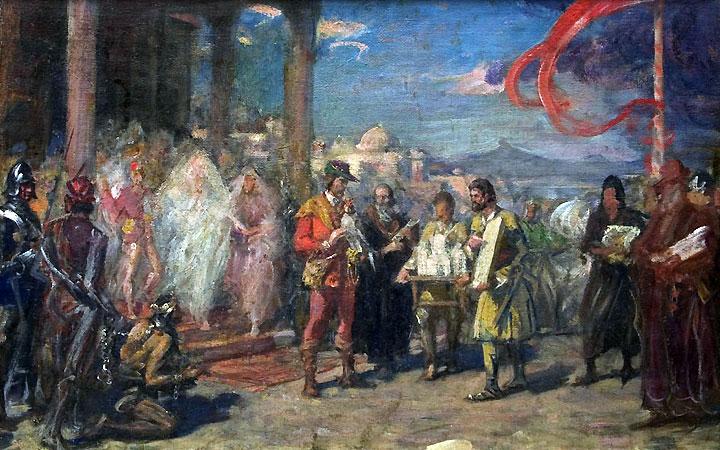 skica za kompoziciju RADE NEIMAR PREDAJE MODEL MANASTIRA MANASIJE, ulje na platnu,  početak XX veka