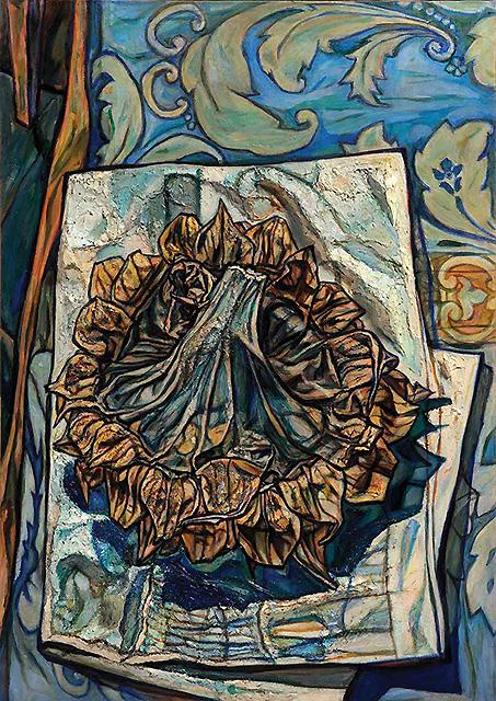 Милица Стевановић, Лисце на сувом сунцокрету и на тканини, 1970.