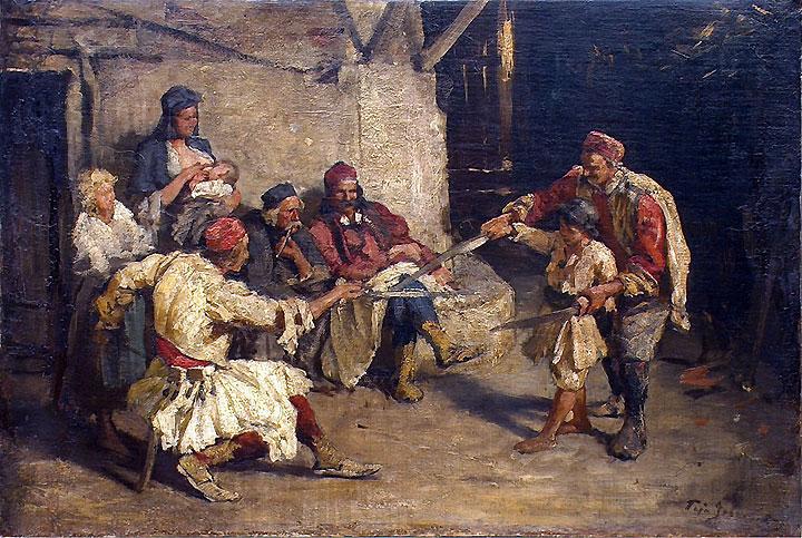 MAČEVANJE (replika), ulje na platnu, oko 1900